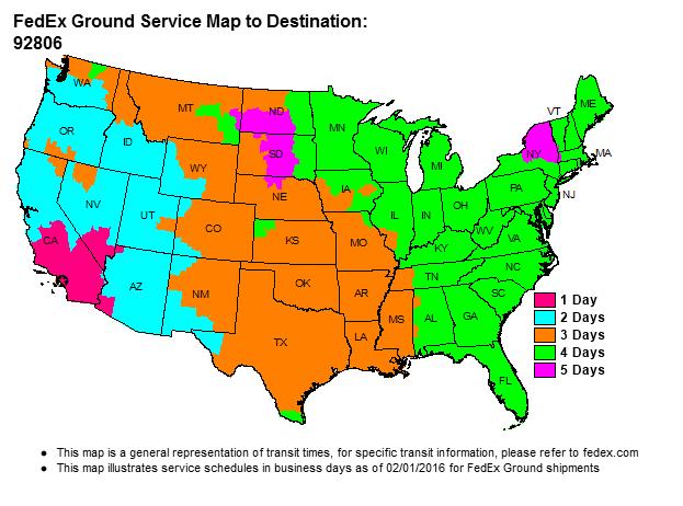 Fedex Ground Service Map UPS FEDEX GROUND SERVICE MAP   Santa Ana Wheel Fedex Ground Service Map